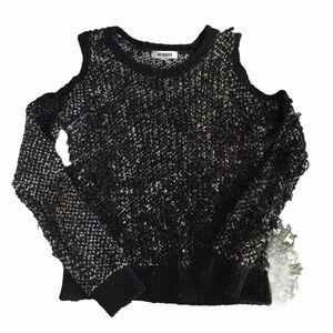 BB Dakota Cold Shoulder Black White Knit Sweater